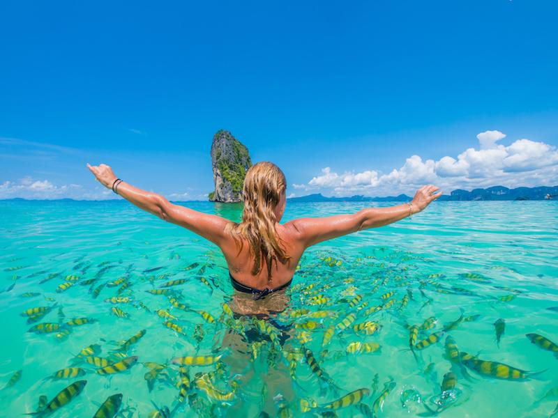 תמונה של אישה שוחה על שנורקל מוקפת דגי נוי בים אנדמן